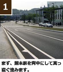 まず、熊本駅を背中にして真っ直ぐ進みます。
